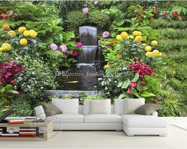 Rose flowers fountain photo wallpaper personalized custom for 3d rose wallpaper for bedroom