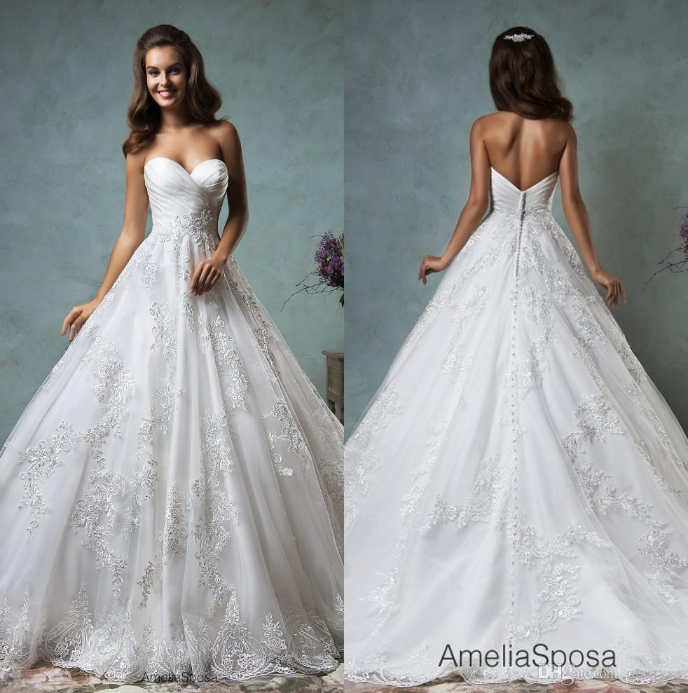 Plus size wedding dresses ball gown 2016 amelia sposa sweetheart
