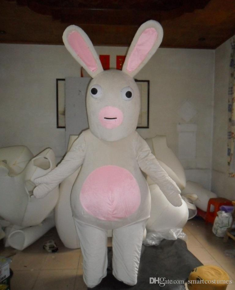 with one mini fan inside the head sw0414 white crazy rabbit raving rabbids mascot costume for adult raving rabbids mascot costume raving rabbids costume - Raving Rabbids Halloween Costume