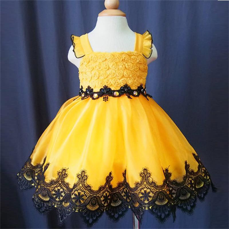 2015 Cute Yellow A Line Lace Appliques Flower Girl Dresses For ...