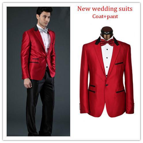 Hot Sale Wedding Shiny Red Groom Tuxedo Custom Made Groom Suit ...