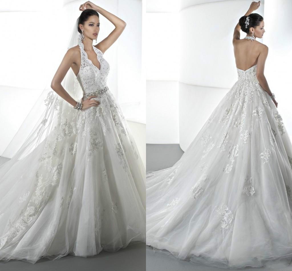 y 2016 A Line Halter Lace Princess Wedding Dresses With