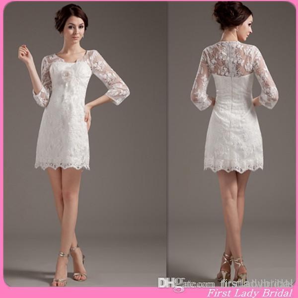 2015 sexy 3 4 sleeves short wedding dresses ivory lace for Simple wedding dresses short