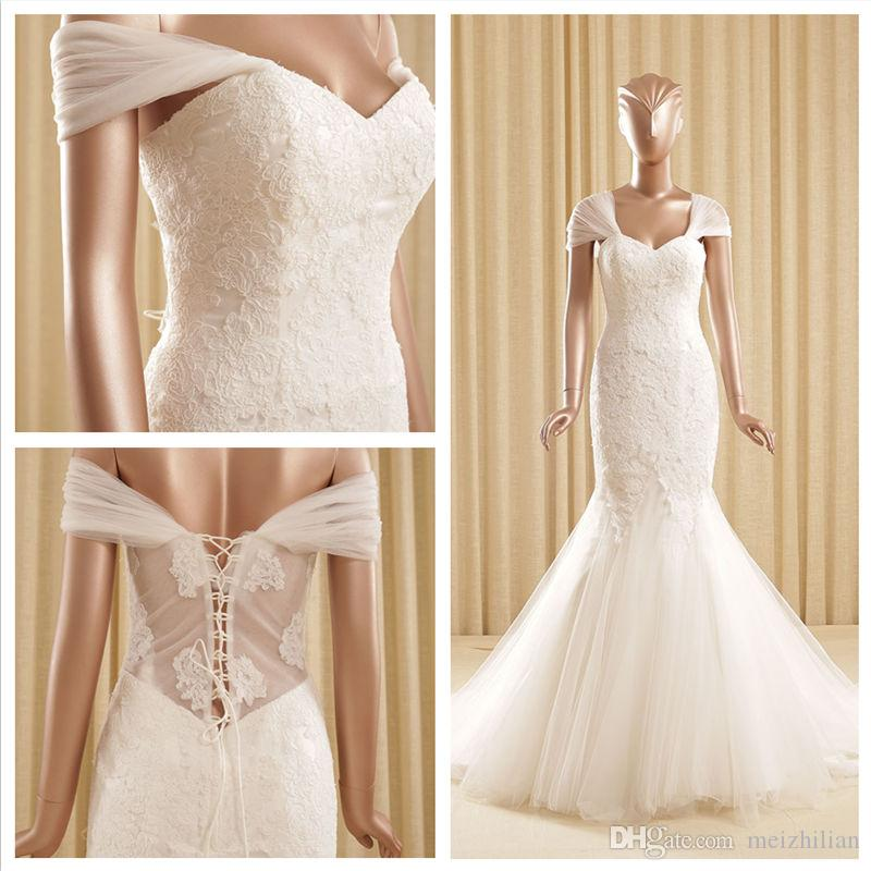 2015 100 real image simple fashion lace mermaid wedding for Simple wedding dresses under 100