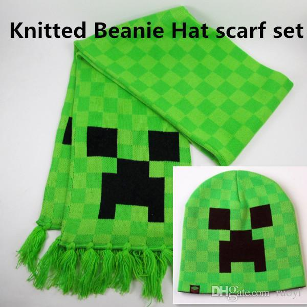 2017 New Minecraft Hats Scarf Set Kids Knitted Beanie Hat Creeper Face Warm W...