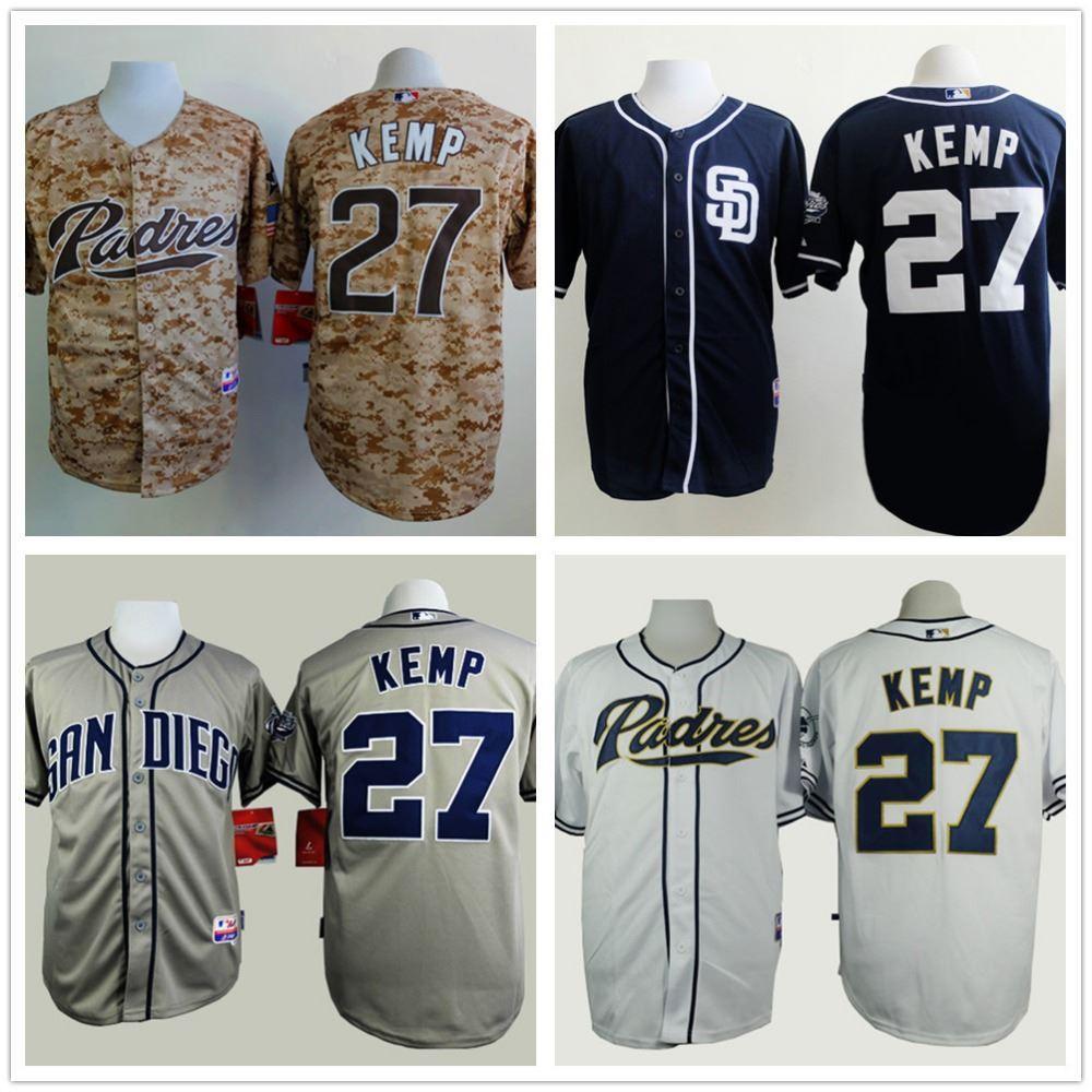 Shirt design san diego - San Diego Padres 27 Matt Kemp Jersey Men S Baseball Jerseys Size S Xxxl Free Shipping
