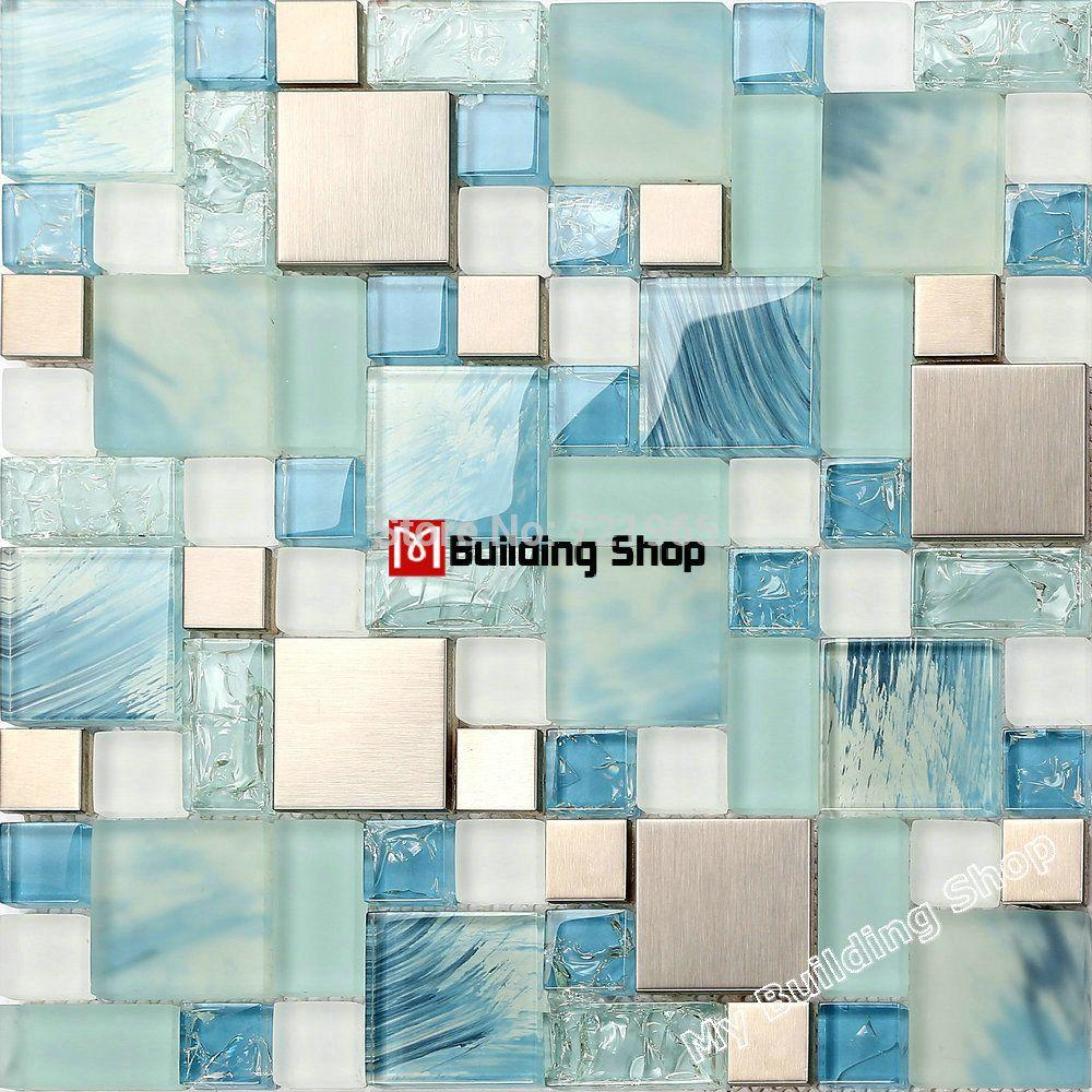 Metal Kitchen Wall Tiles Wholesale Blue Glass Mosaic Kitchen Wall Tile Ssmt306 Stainless