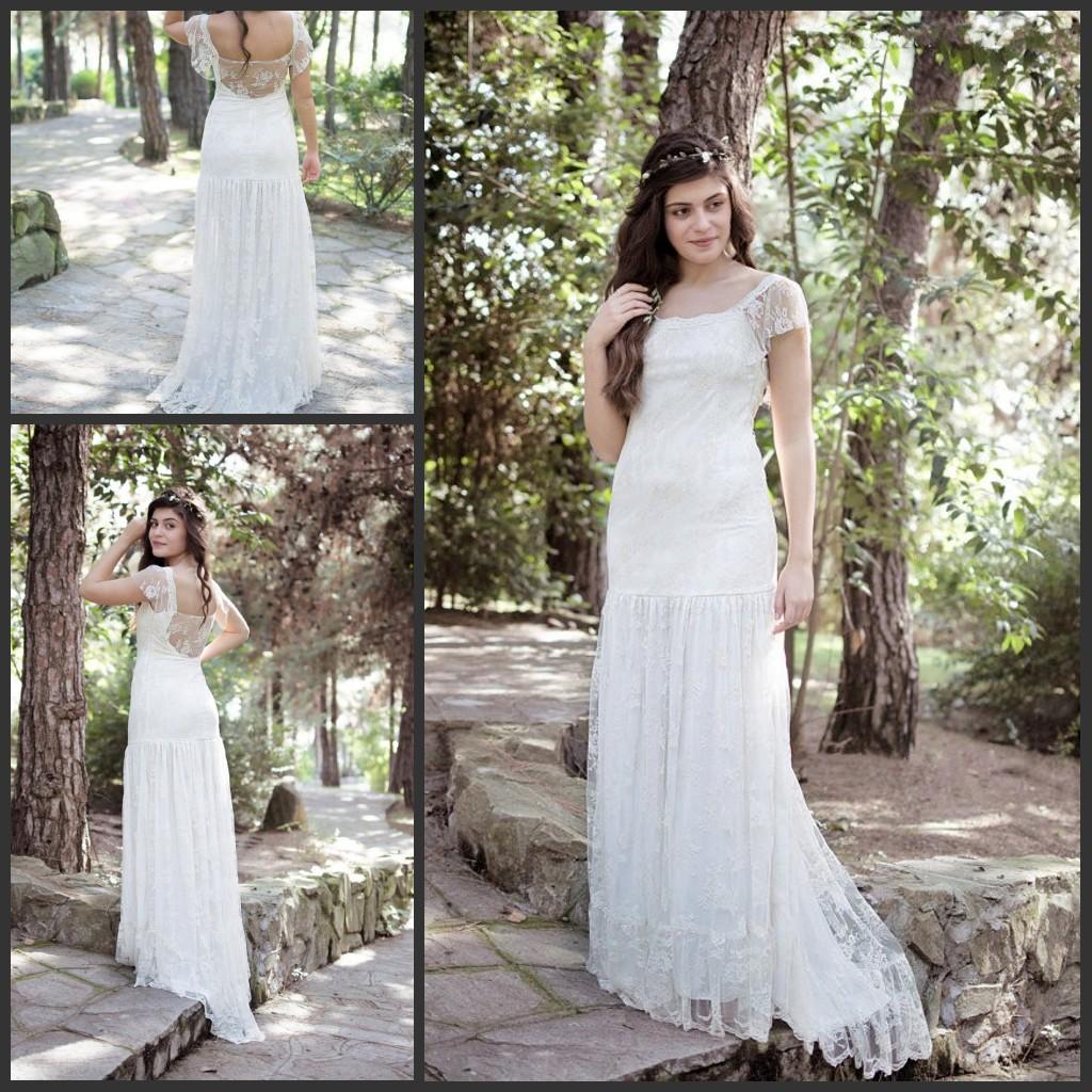 Cream Boho Wedding Dresses 2015 Beautiful Lace Cap Sleeves