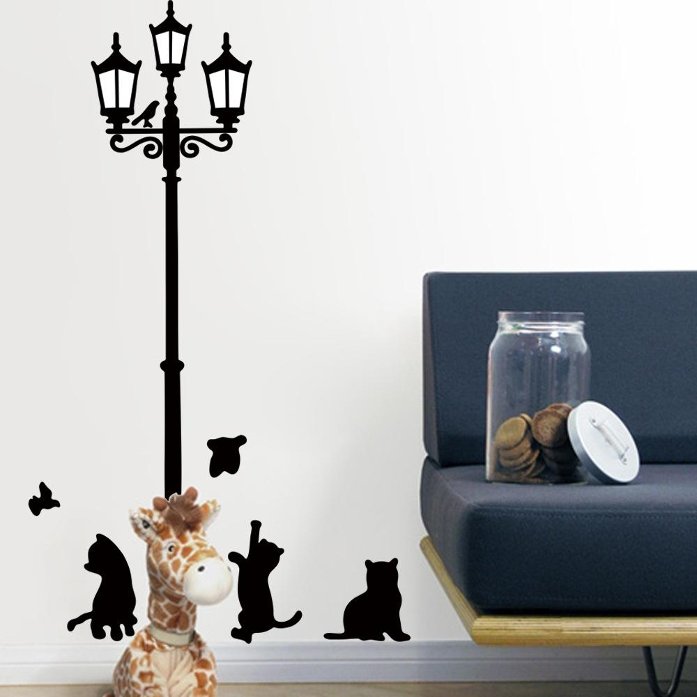 Wall stickers cat - Wholesale Retail Black Diy Street Lamp And Cats Wall Stickers Decoration For Room Vinyl Removable Decal For Wall Room Decals Room Decor Sticker From