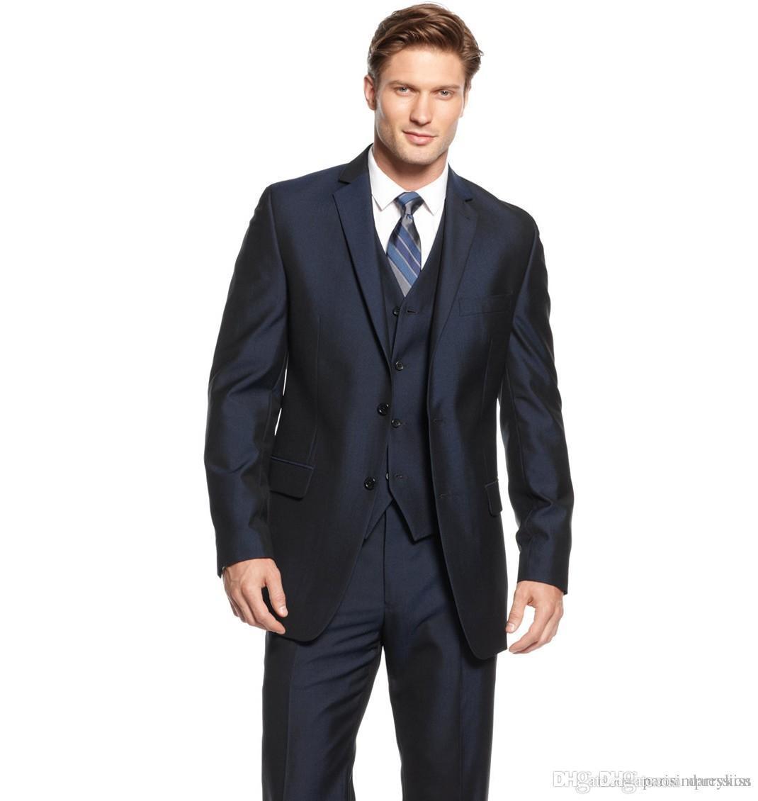 Navy Blue Wedding Suits For Men Men Tuxedos Men Suits Slim Fit ...