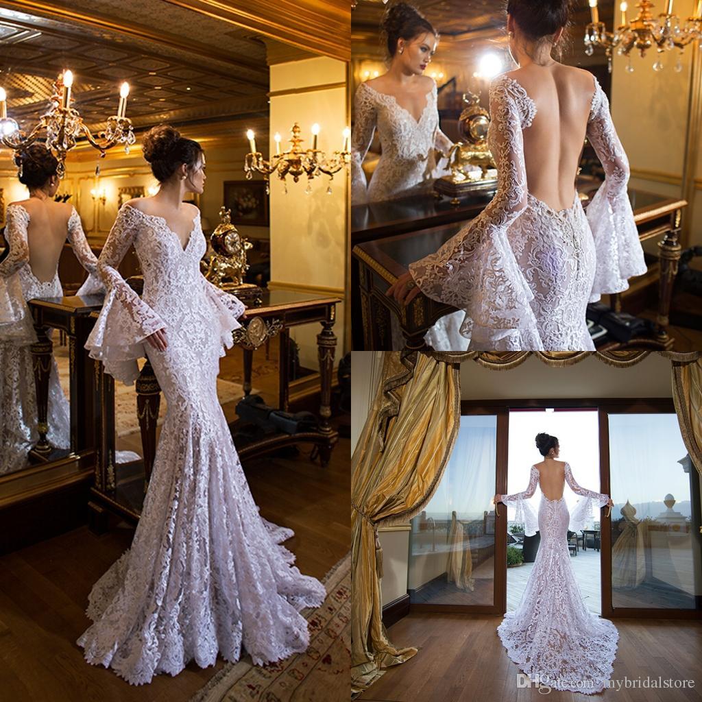2015 New Fashion Sheer Lace Mermaid Wedding Dresses V Neck Long ...