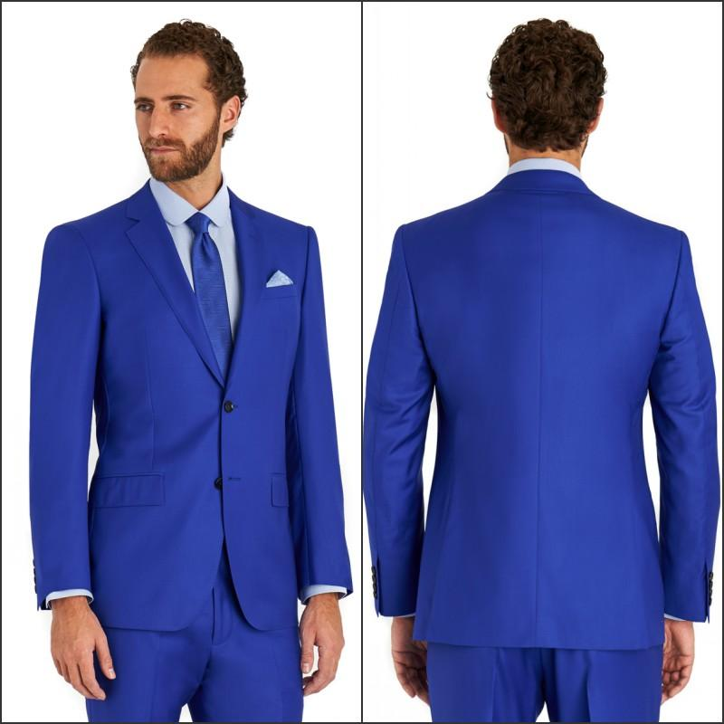 2015 Italian Blue Groom Wear Suits Jacket Pants Tie a Set Wedding ...