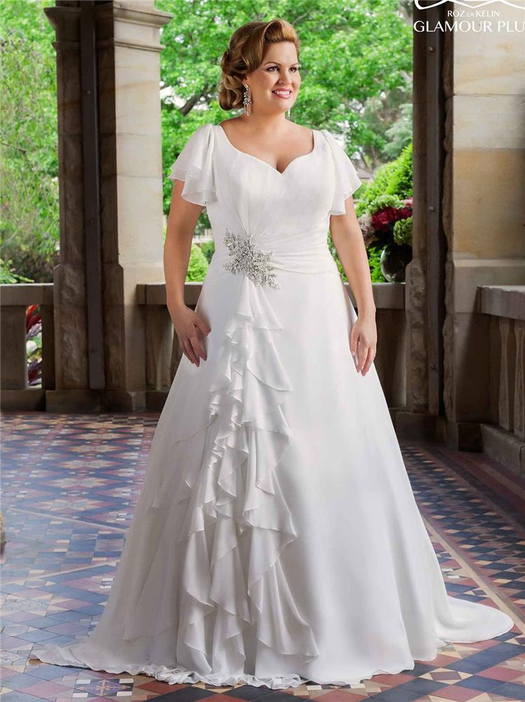Discount vintage plus size wedding dresses 2016 with short for Best wedding dresses for short fat brides