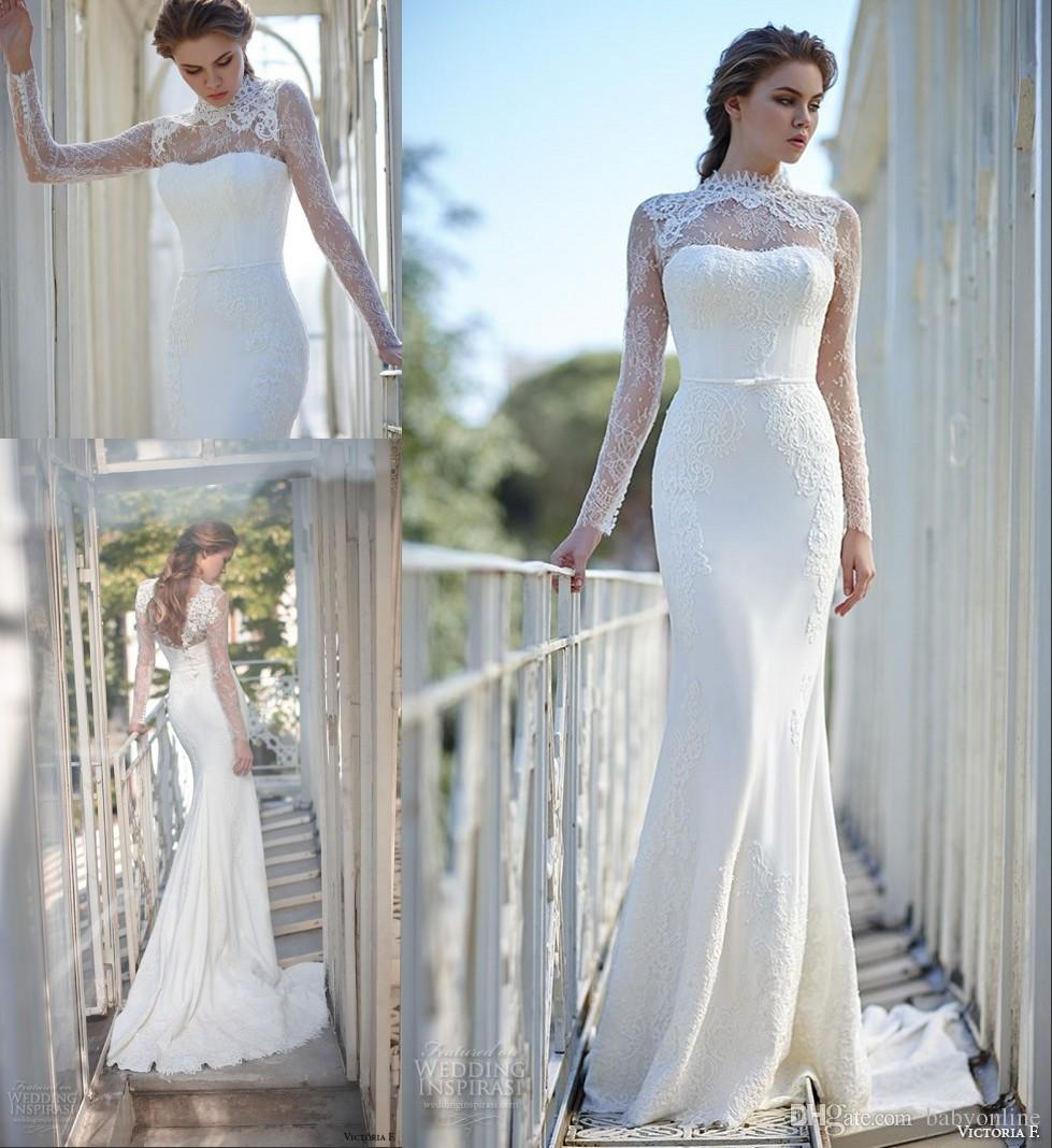 2016 fashion long sleeves lace mermaid wedding dresses for Long sleeve slim wedding dresses