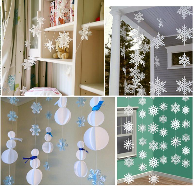 Best 3m long 3d snowflake paper hanging decor for room for 3d hanging snowflake decoration