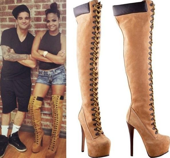 Sexy Winter Boots Knee High Gladiator Boots New 2015 Brown Lace Up ...