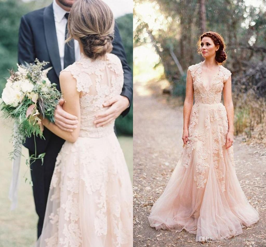 Deep V Cap Sleeves Pink Lace Applique Tulle Sheer Wedding