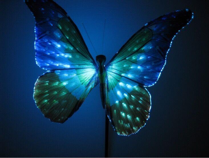 garden decoration solar pin lamp 2x fiber butterfly decoration portable butterfly lamp for gardenlawn - Solar Garden Decor