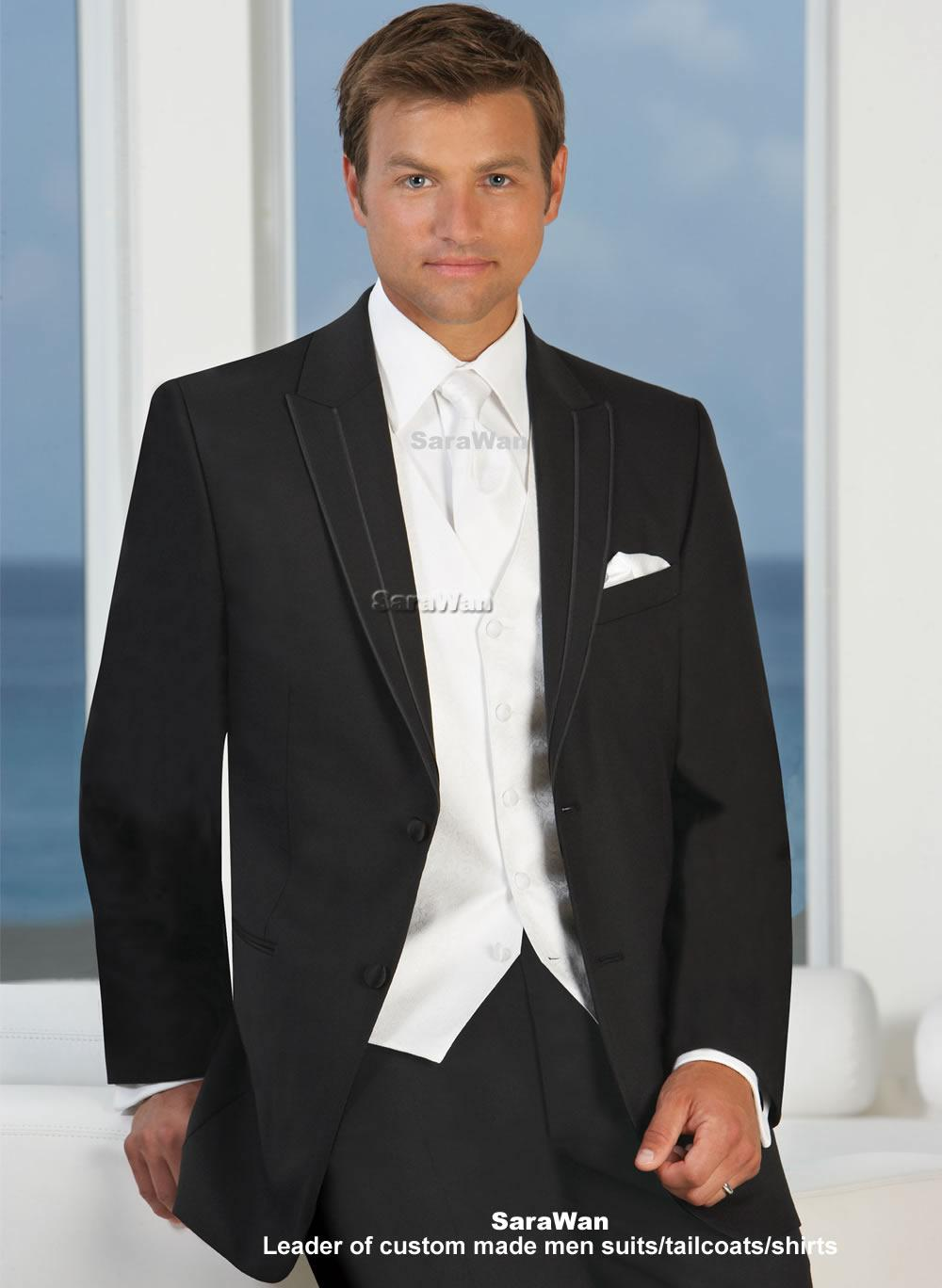 Wedding Groom Tuxedo custom made groom tuxedo bespoke black suits with white vest waistcoat tailor made