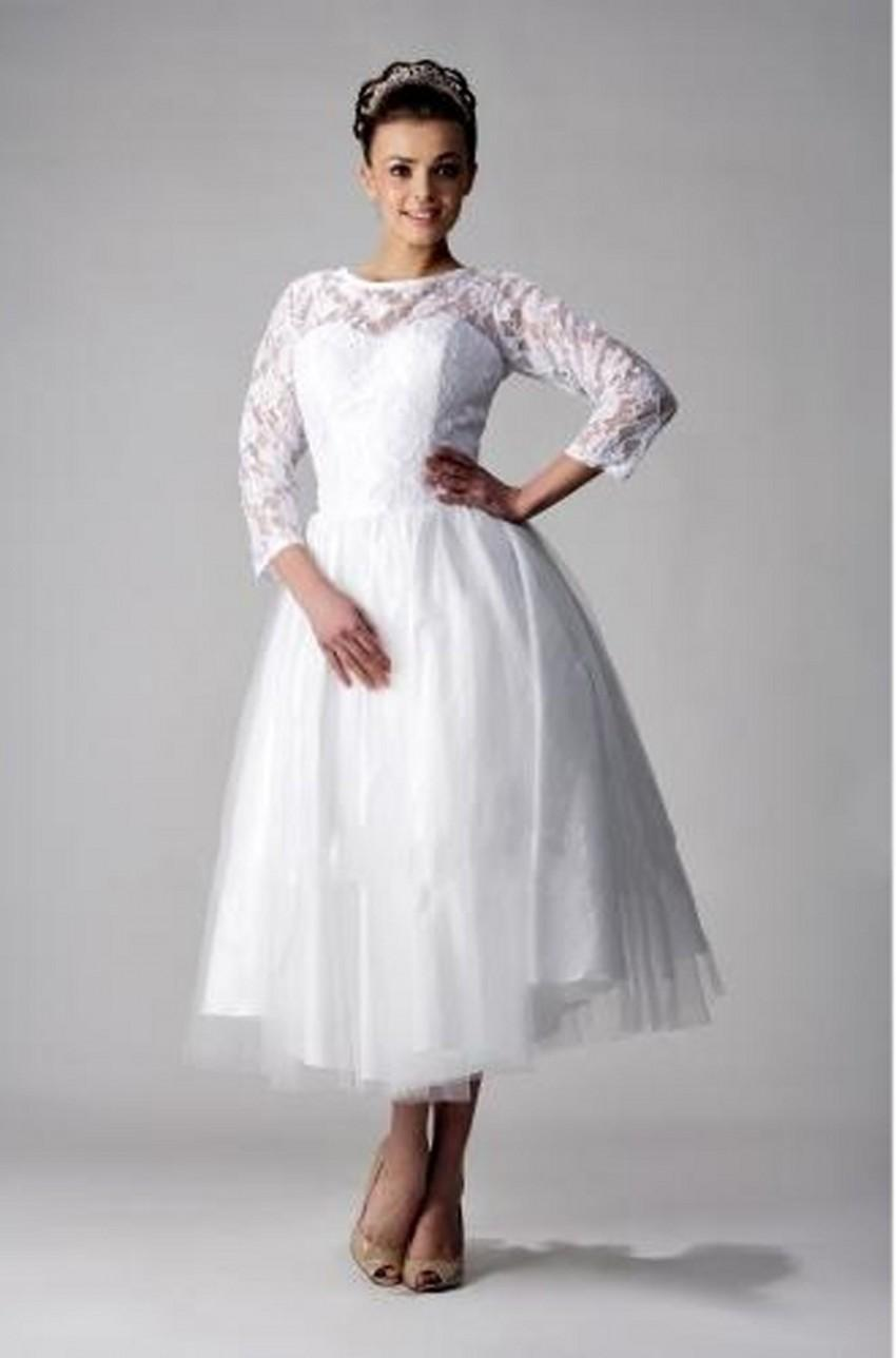 Ankle length plus size wedding dresses jewel neckline long for Ankle length wedding dress with sleeves