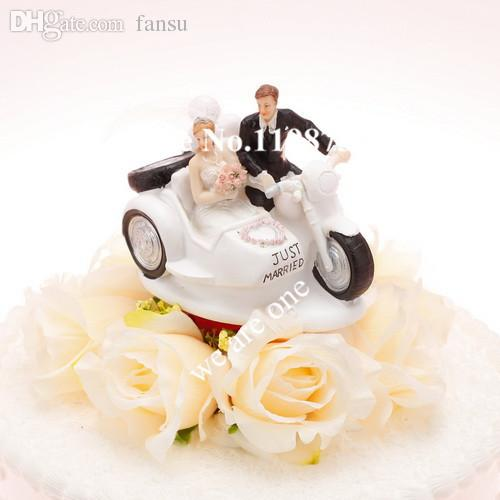 Wholesale Bride Groom On Motorbike Wedding Cake Topper For Favors Gifts Party Accessory Decoration Supplies Meaning Grooming Books
