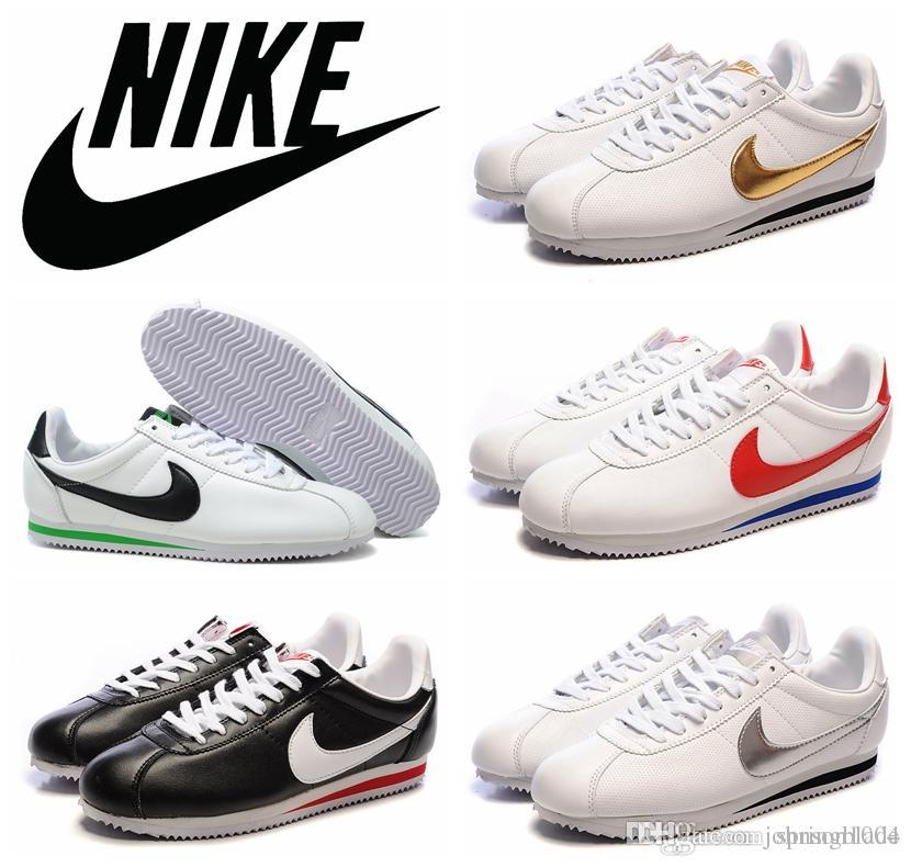 Nike Cortez Leather Running Shoes 100 Original White Gold