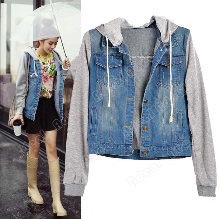 New Women Girls Denim Jersey Jacket Jean Jackets Hooded Coat M/L ...