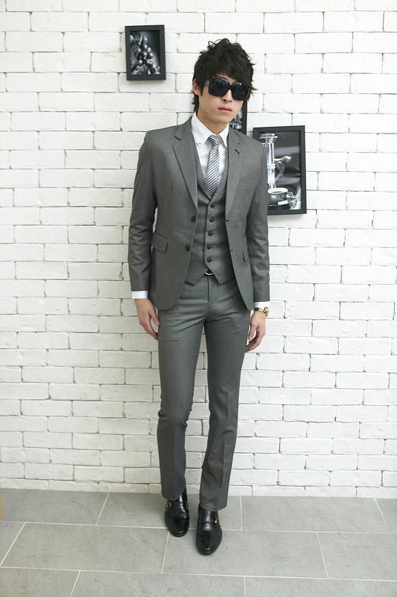 New Three Pieces Slim Gray Men'S Wedding Suits Wedding Suits For