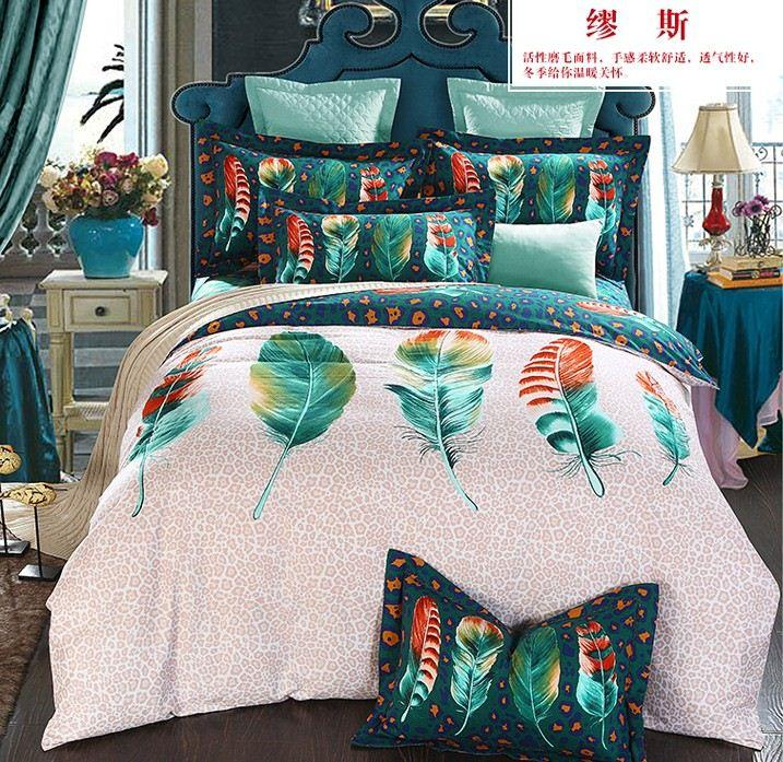 Colorful Feather Bedding Sets King Size Queen Full Double