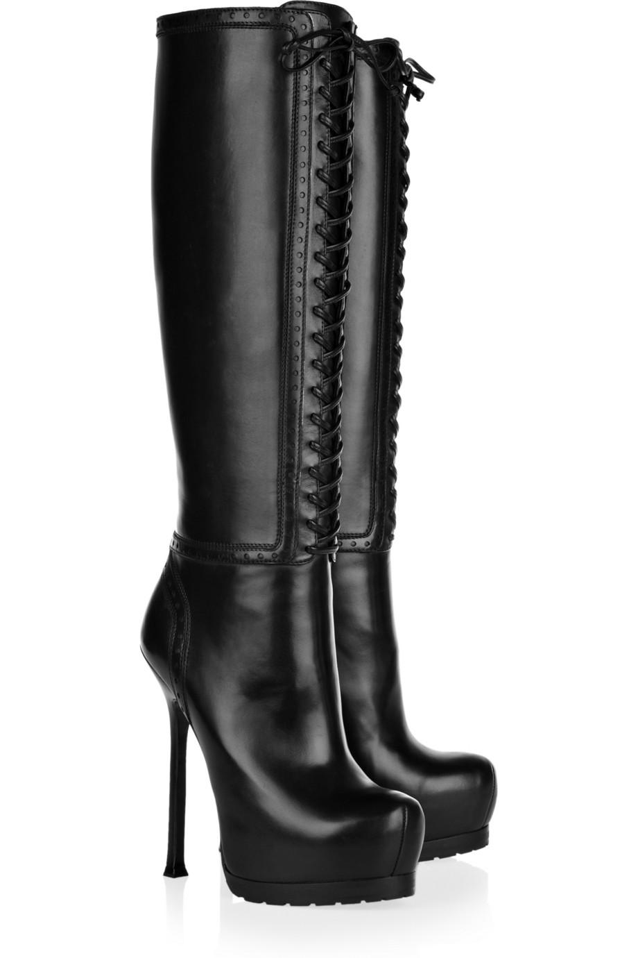 Black High Heel Lace Up Boots
