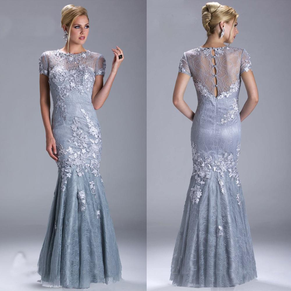 2015 Modest Mermaid Mother of Bride Lace Dress Applique Beads ...
