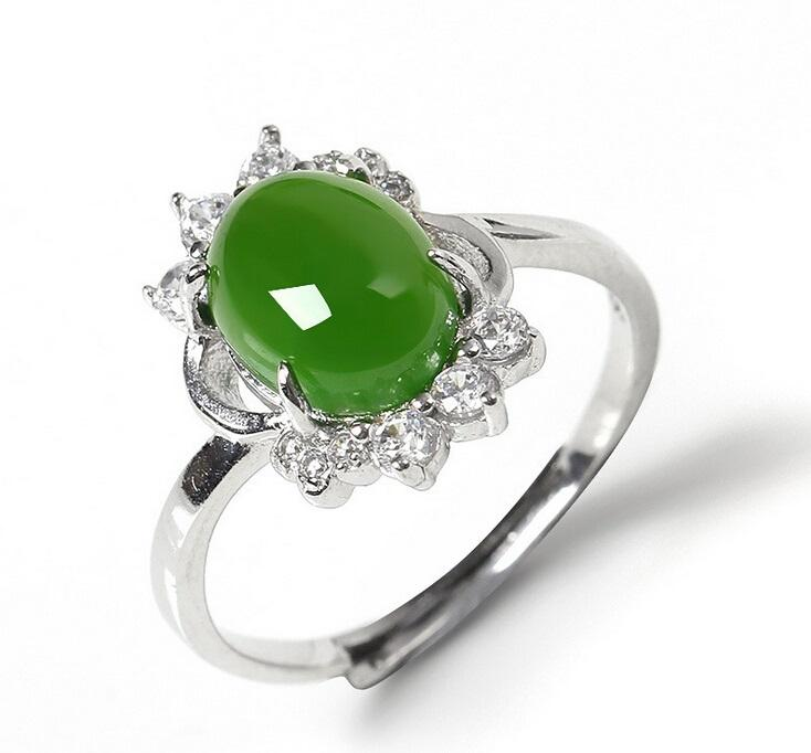 2016 new women green jade silver ring nature jade sterling silver rings 925 silver ring with - Jade Wedding Ring