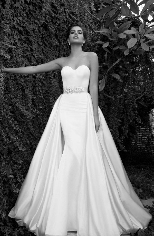 2015 Elihav Sasson Mermaid Wedding Dresses with Train Crystal Sash ...