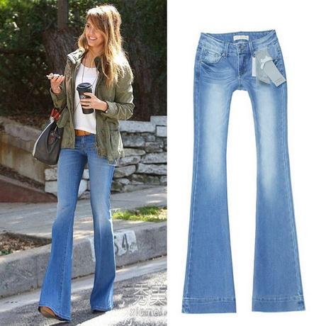 Light Color Bleached Mid-waist Flare Jeans Women 2015 Lengthen ...