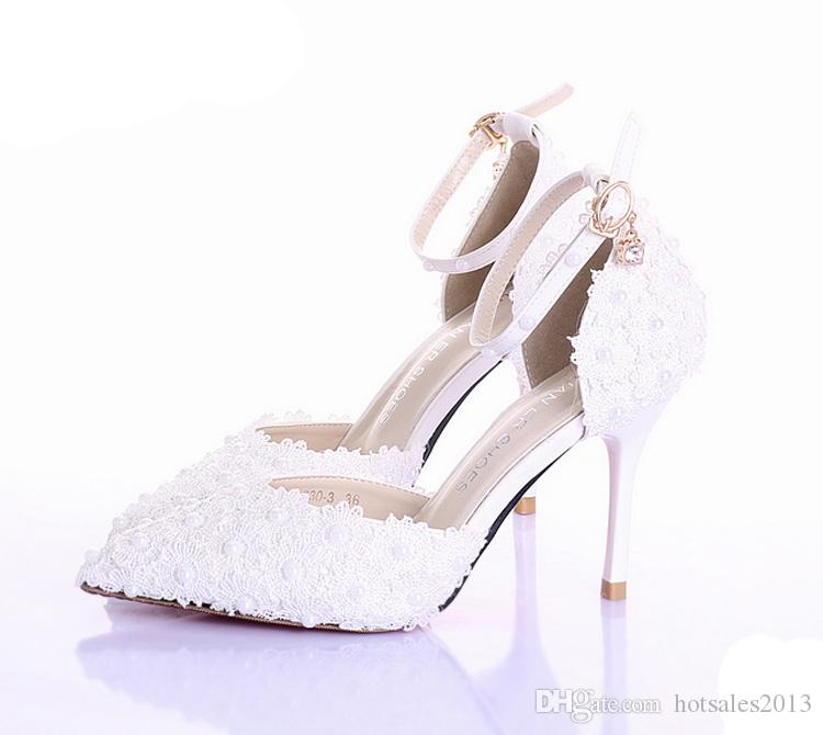 White Lace Flower Wedding Shoes Pointed Toe Bridal Prom Party Shoes Lady Pumps Beautiful