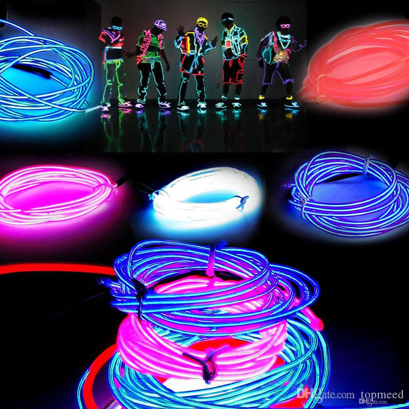 3m led flexible neon light glow el wire rope tube flexible neon light car dance party costumecontroller holiday decor light 10 led neon sign led lights - Neon Christmas Lights
