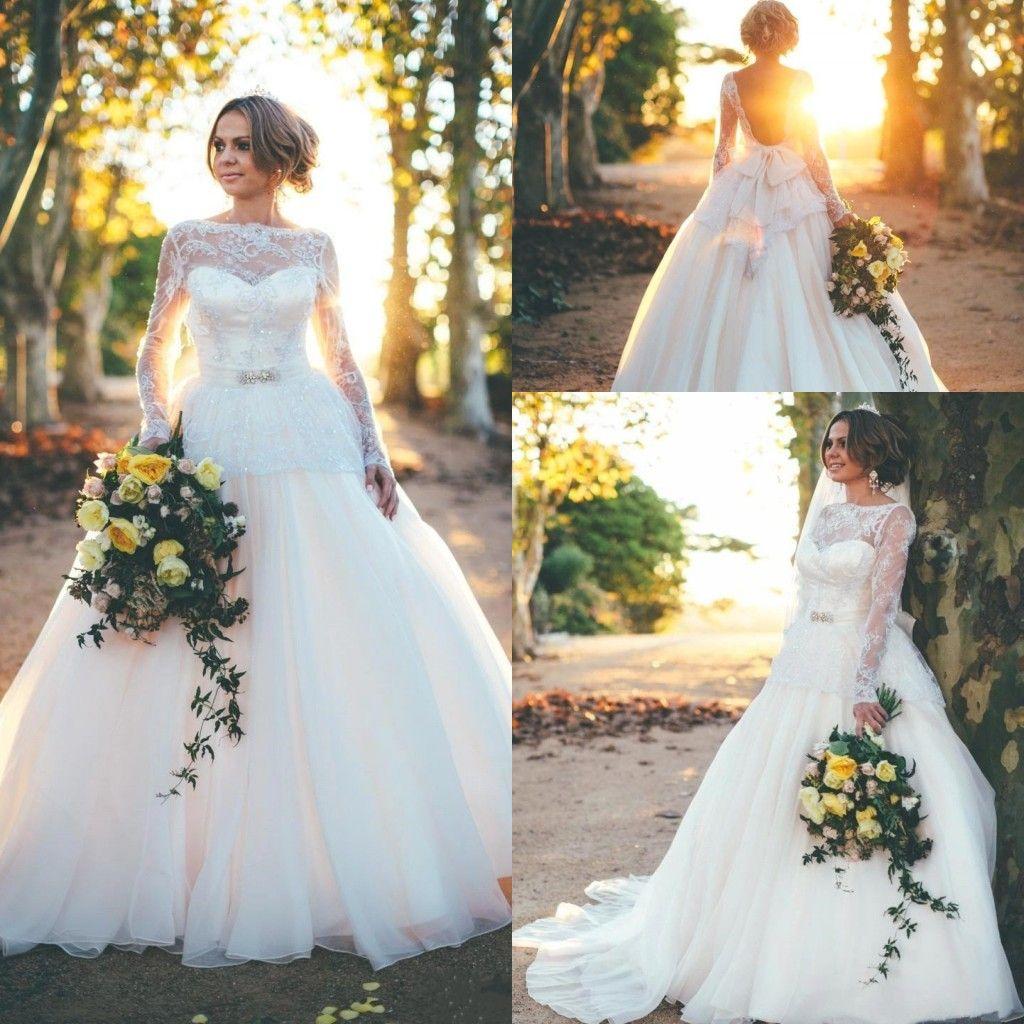 Long Sleeve Vintage Lace Wedding Dresses 2017 y