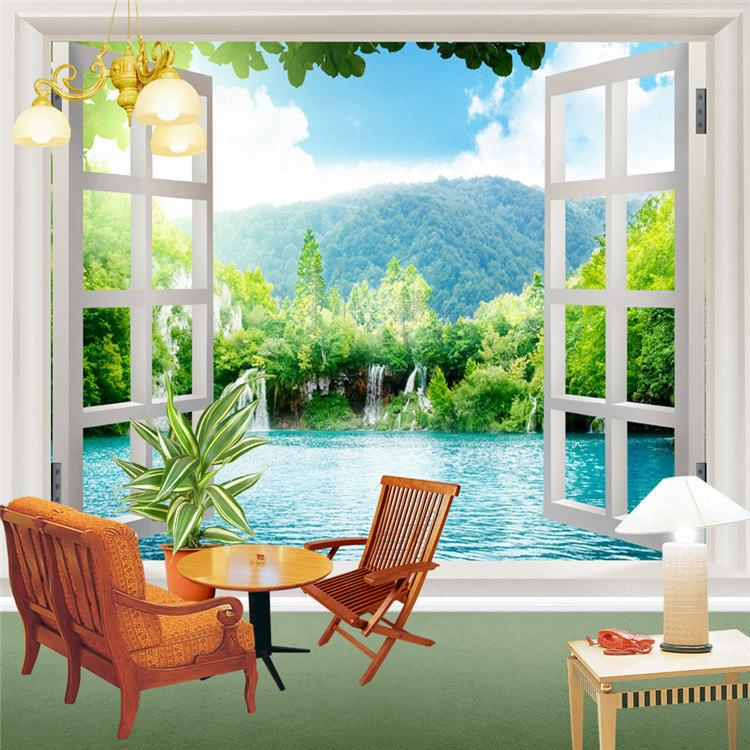 Cascades Fenetre 3D Forest View Stickers Muraux Art Mural