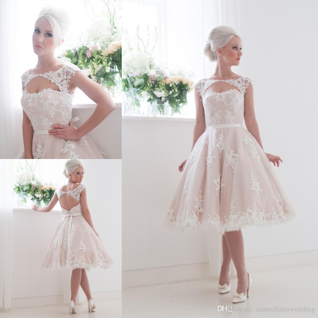 Discount Vintage 2016 Tea Length Lace Wedding Dresses