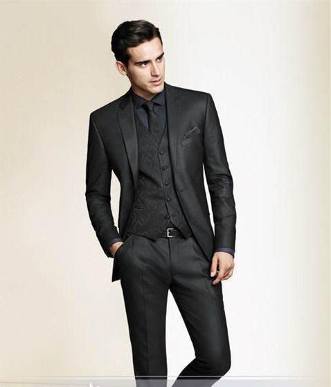 Black Slim Fit Custom Made Men Tuxedo Wedding Suits for Men ...