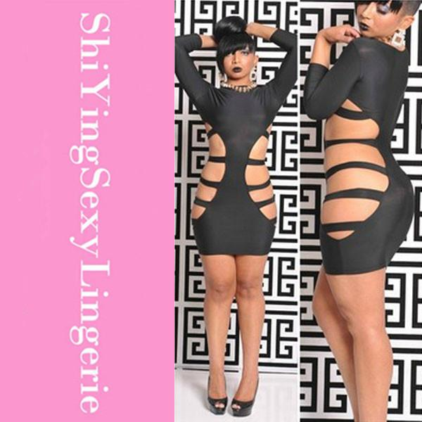 Sexy Skintight Black Women Dress 2015 New Hot 3/4 Sleeve Sultry ...