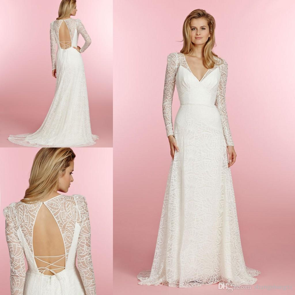 bargain wedding dresses hayley paige wedding dress hot sale wedding dresses hayley paige bridal long sleeve lace a line gown v neckline keyhole corset slim summer beach wedding dresses new wedding