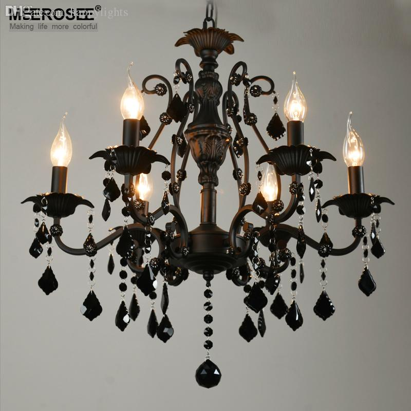 wholesale vintage black crystal chandelier light fixture 6 lights american wrought iron chandelier suspension hanging black crystal chandelier lighting
