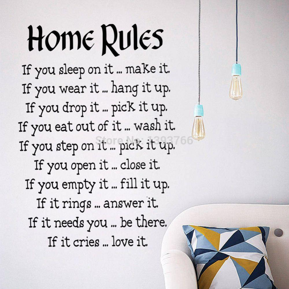 home rules quote wall stickers home decor vinyl art decals sticker home decoration wallpaper painting free