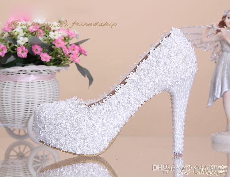 Оптом - Выполненная на заказ Rhinestone Свадебная обувь 2015 Высокие каблуки Женская обувь, украшенные Груши кружево Свадебная обувь 12 или 14 см на заказ