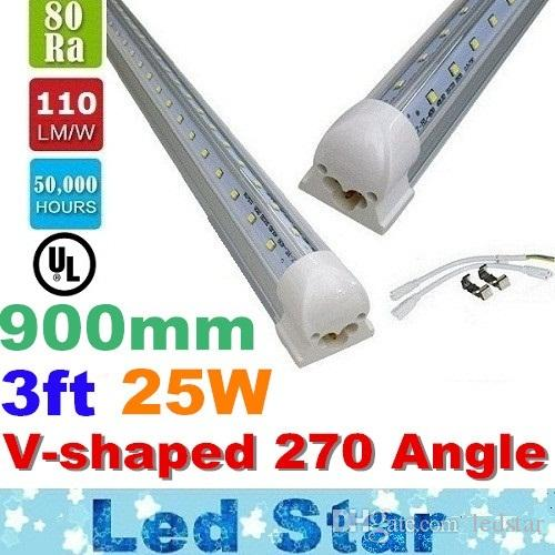 3ft en forme de V Led Tubes T8 25W 900mm Cooler porte tubes LED 270 Angle Transp