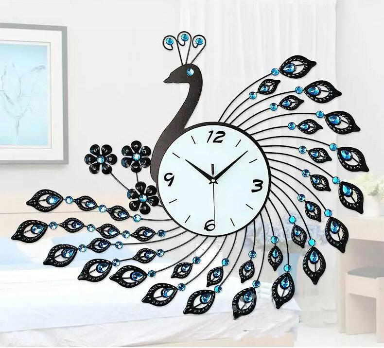 Peacock Wrought Iron Wall Clock With Diamonds Living Room Decoration Clock  Bedroom Wall Clock Peacock Mute Wall Clock Peacock Decoration Wall Clock  Living ...