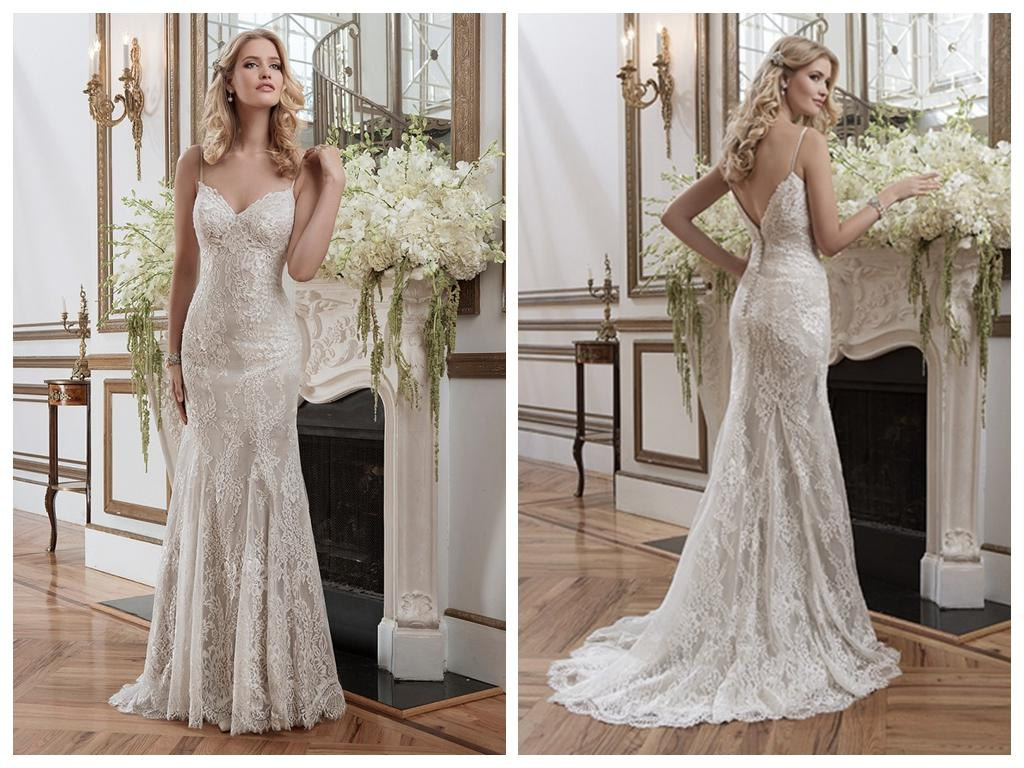 Sheath Wedding Dresses Elegant 2015 Spaghetti Straps