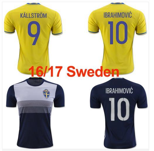 28800f2f4dc ... 16 17 sweden national team soccer jerseys 2016 european cup zlatan  ibrahimovic sebastian larsson 201