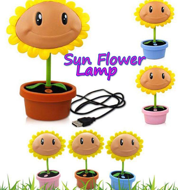 plants vs zombies sun flower led lamp usb rechargeable led night light. Black Bedroom Furniture Sets. Home Design Ideas